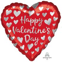 """Valentine's Silver Hearts 18"""" Foil Balloon"""