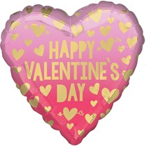 """Valentine's Day Pink Ombre 18"""" Heart Foil Balloon"""