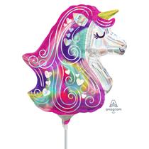 Iridescent Satin Unicorn Mini Shape Foil Balloon