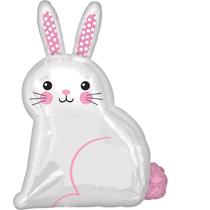 "White Satin Luxe Bunny Rabbit 22"" Foil Balloon"