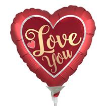 Valentine's Satin Love You Mini Shape Heart Foil Balloon