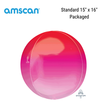 """Red & Pink Ombre Orbz 15"""" Foil Balloon"""