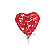 Valentine's Love Script Mini Shape Heart Foil Balloon