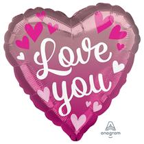 "Valentine's Love You Ombre 18"" Heart Foil Balloon"