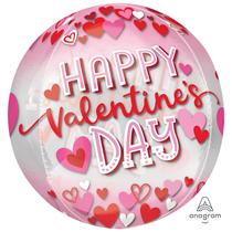 "Valentine's Day Hearts 15"" Orbz Foil Balloon"