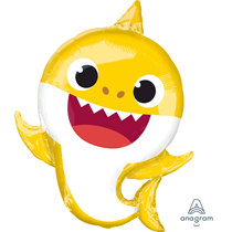 Yellow Baby Shark Party SuperShape Foil Balloon