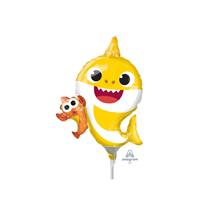"Yellow Baby Shark 11"" Mini Shape Foil Balloon"