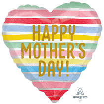 "Mother's Day 18"" Satin Stripes Foil Balloon"