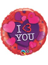 """Valentine's Day I <3 You 18"""" Foil Balloon"""