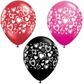 """11"""" Red, Pink and Black Balloons With Love Hearts - 25pk"""