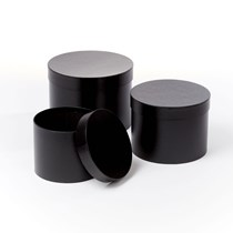 Black Round Lined Hat Boxes - Set of 3