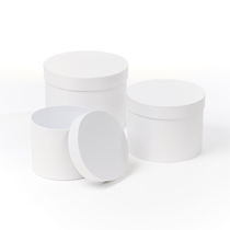 White Round Lined Hat Boxes - Set of 3