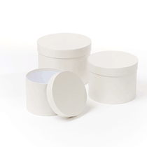 Cream Round Lined Hat Boxes - Set of 3