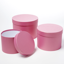 Pink Round Lined Hat Boxes - Set of 3
