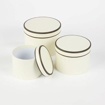 Cream Couture Round Lined Hat Boxes 3pk