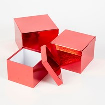 Metallic Red Square Lined Hat Boxes - Set of 3