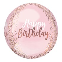 "Blush Pink Happy Birthday Orbz 15"" Foil Balloon"