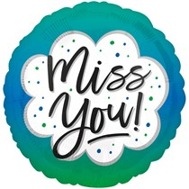 """Miss You Blue Green Ombre 18"""" Foil Balloon"""