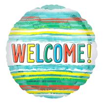 "Welcome Watercolour Stripes 18"" Foil Balloon"