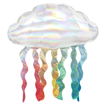 """Holo Iridescent Cloud 30"""" Foil Balloon With Streamers"""