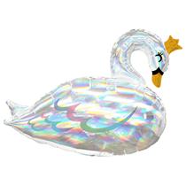 "Swan Princess Holo Iridescent 29"" Foil Balloon"