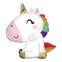 """Sitting Unicorn Satin Luxe 29"""" Foil Balloon"""