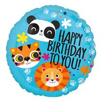 "Lion, Tiger, Panda Birthday 18"" Foil Balloon"