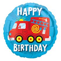 "Fire Engine Happy Birthday 18"" Foil Balloon"
