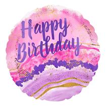 "Birthday Pink Purple Watercolour 18"" Foil Balloon"