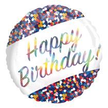 "Birthday Confetti Holo Iridescent 18"" Foil Balloon"