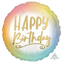 """Ombre & Gold Happy Birthday 18"""" Foil Balloon"""