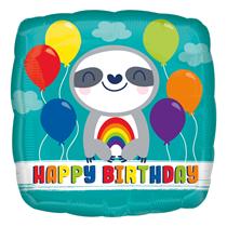"Happy Birthday Sloth 18"" Square Foil Balloon"