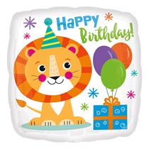 "Lion Happy Birthday 18"" Square Foil Balloon"