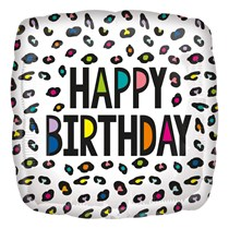 """Rainbow Leopard Spots Birthday 18"""" Foil Balloon"""