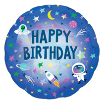 """Outer Space Birthday Holo Iridescent 18"""" Foil Balloon"""