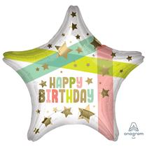 "Happy Birthday Gold Stars 18"" Foil Balloon"