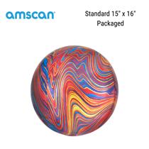 "Multi Coloured Marblez Orbz 15"" Foil Balloon"