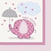 16 Umbrellaphants Pink Luncheon Napkins