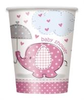 8 Umbrellaphants Pink 9oz Paper Cups