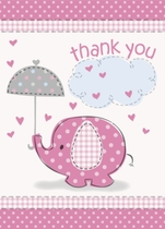8 Umbrellaphants Pink Baby Shower Thank You Notes