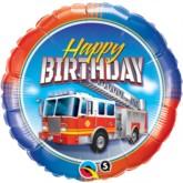 "18"" Happy Birthday Fire Truck Foil Balloon"