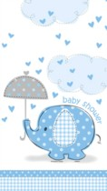 """54"""" x 84"""" Blue Umbrellaphants Plastic Tablecover"""