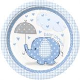"8 Large Umbrellaphants Blue 9"" Paper Plates"