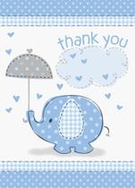 8 Umbrellaphants Blue Baby Shower Thank You Notes