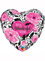 """18"""" Mother's Day To a Wonderful Mum Heart Foil Balloon"""