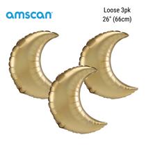 "Satin Luxe Gold Crescent 26"" Foil Balloons 3pk"
