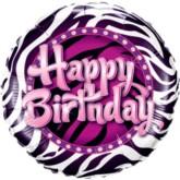 "Zebra Happy Birthday Foil Balloon 9"""