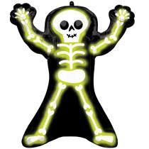 """Halloween Neon Skeleton 30"""" SuperShape Foil Balloon"""