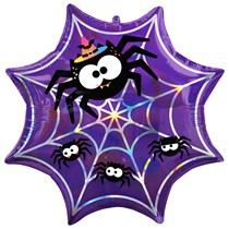 Halloween Iridescent Spider Web Supershape Foil Balloon