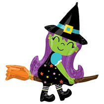 """Halloween Witch On Broom SuperShape 34"""" Foil Balloon"""